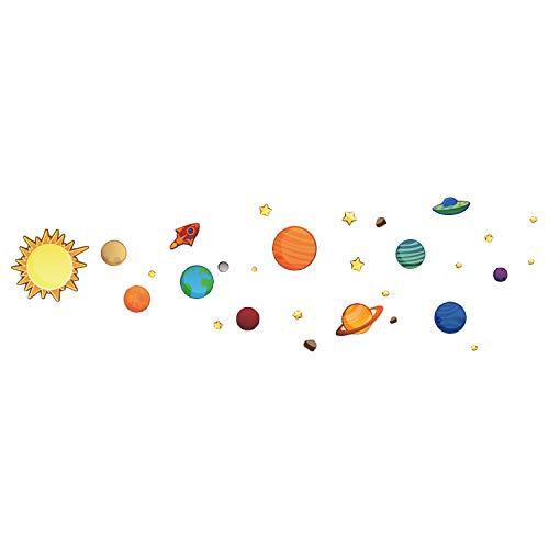 Beetest Stickers Planete, 1 Feuille Stickers Muraux Planetes Système Solaire Planètes Amovible Mur de PVC Fenêtre Miroir Décoration Stickers Autocollants pour Enfants Chambre Maison