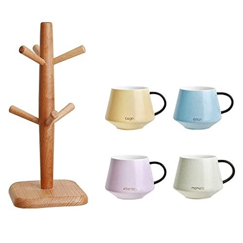 Taza de café de cerámica Simple de 15,8 oz / 450 ml, Tazas Creativas de té de la Tarde de Leche de Gran Capacidad con Soporte de Madera Maciza para Oficina y hogar, 4 Colores