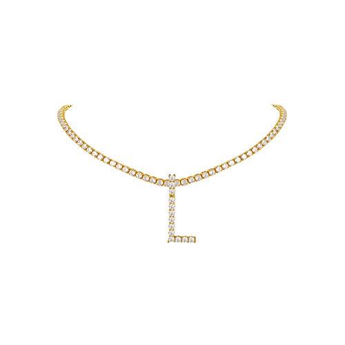 FindChic Goldkette Ice Out Alphabet L Namenskette Tennis Choker Kette mit Zirkonia Hip pop Halskette