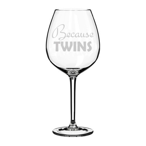Copa de vino con texto en inglés'Mom Dad Because Twins' 20 oz Jumbo cristal
