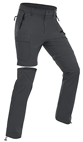 Wespornow Damen-Zip-Off-Wanderhose-Trekkinghose Atmungsaktiv Schnell Trockend Outdoorhose Abnehmbar Funktionshose Stretch Sommer Hosen (Grau, M)
