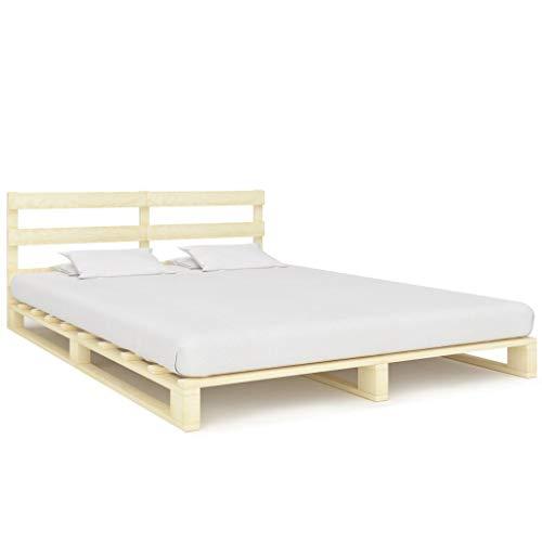 VidaXL massief grenenhout palletbed palletmeubelen massief houten bed bed futonbed ledikant bedframe tweepersoonsbed 180x200cm