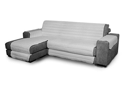 Italian Bed Linen Elegant - Funda Protectora para Sofá Chaise Longue Izquierdo, Microfibra, Gris claro, Medida del asiento 240 cm + cubre brazos laterales