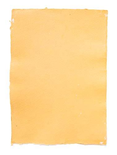 Büttenpapier | handgeschöpftes Papier, Strukturpapier | DIN A4 | creme-gelb + orange – Schreibgefühl® Anzahl Einzeln: 1 Bogen
