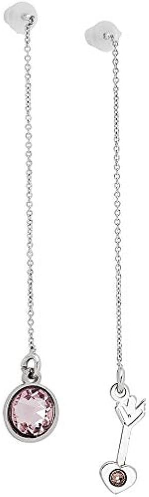 Orecchini donna gioielli boccadamo, asimmetrici in acciaio rodiato e cristalli swarovski PI/OR34