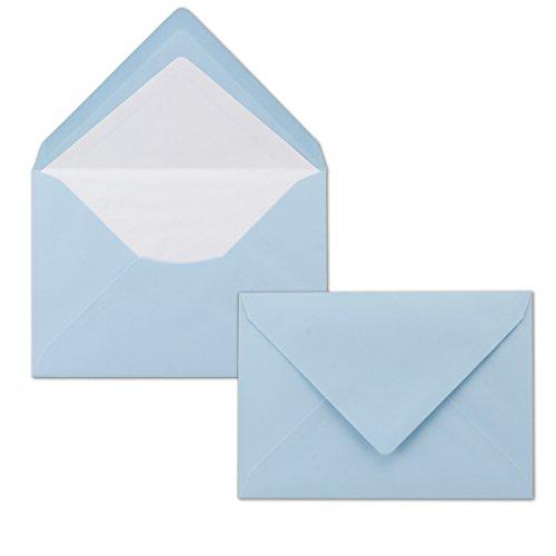 50 Brief-Umschläge Hellblau - DIN C6 - gefüttert mit weißem Seidenpapier - 80 g/m² - 11,4 x 16,2 cm - Nassklebung - NEUSER PAPIER