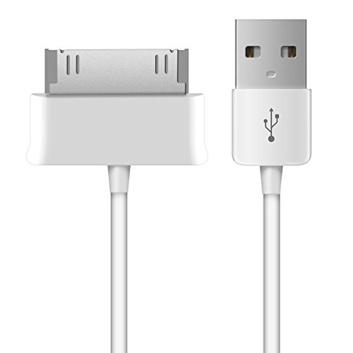 kwmobile Charger Compatible with Samsung Galaxy Tab 1/2 10.1/Tab 2 7.0/Note 10.1 - USB 2.0 30 Pin Charging Cable Cord - White