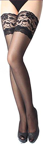 ONEFIT Sexy Damen Strümpfe mit Spitzenband, Oberschenkelhoch - Schwarz - Einheitsgröße