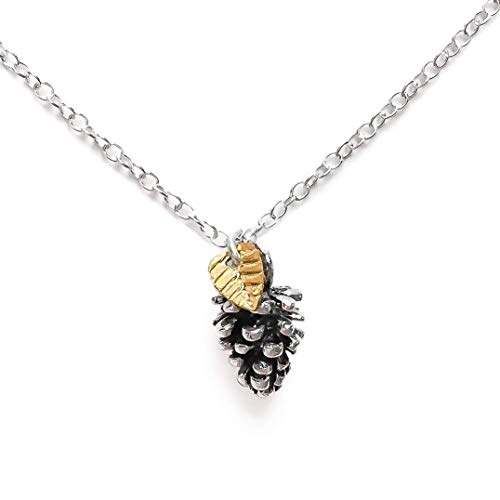 Melanie Golden Jewelry Tiny Pinecone Necklace With Leaf in Sterling Silver