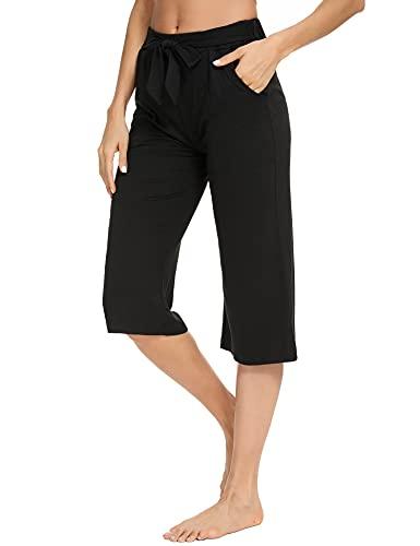 Sykooria Pantalones Capri de Verano Cortos para Mujer con Bolsillos,3/4 Pantalones de Mujer Yoga Casuales Jogging con Hermosa Cordón,Acampanados Pantalones Deportivos Suaves, Cómodos Transpirables