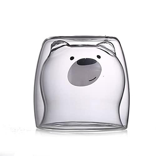 RZHIXR Taza De Oso Colgante Transparente Creativa De Vidrio De Doble Capa, Taza De Leche para Niños Linda Taza De Café con Aislamiento 250ml