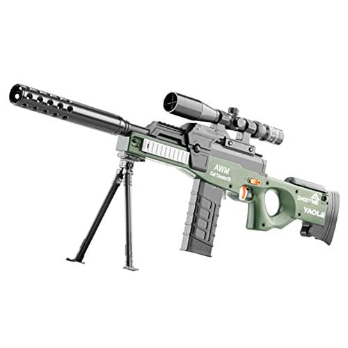 Juguete Foam Blasters Guns Sniper, Rifle de Francotirador de Juguete AWM Automático Eléctrico con Bala Suave de 60 Lechones, Pistolas de Juguete de Bricolaje, Los Mejores Regalos Para Niños,green