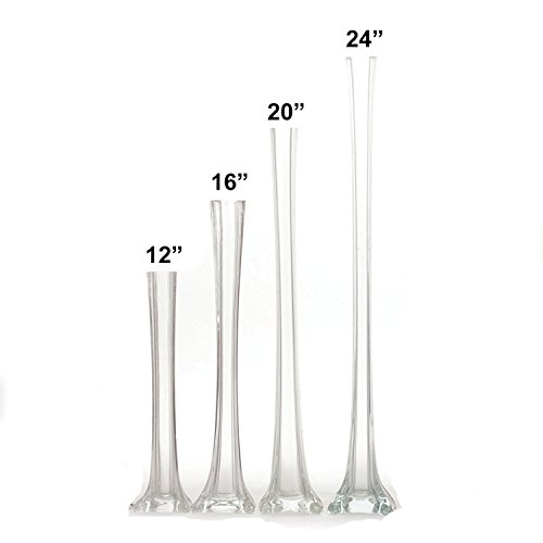 "LACrafts Elegant Glass Eiffel Tower Vases for Centerpiece, Home Decor, Flower Arrangements in Clear, White or Black (Clear, 24"" Inch - 12 Pieces)"