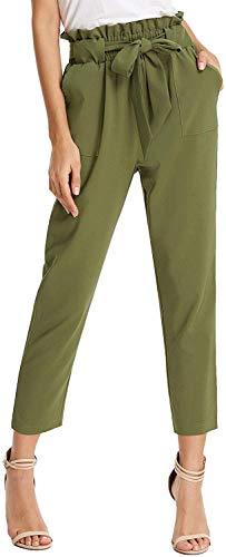 Deerludie & T Women Pants Casual Trouser Paper Bag Pants Elastic Waist Slim Pockets Army XXL