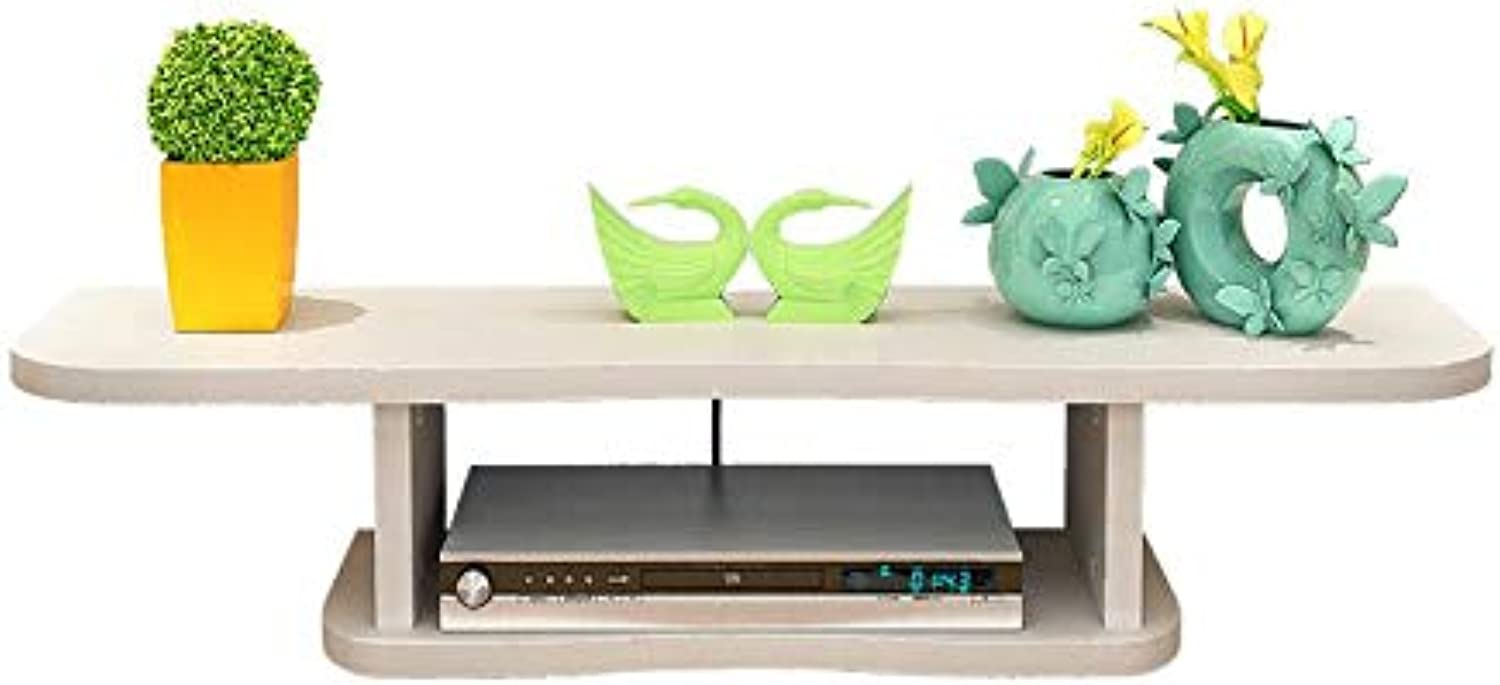 Set Top Box Shelf TV Wall Frame Mount Router Storage Pure Solid Wood, 4 colors (80  22  18cm) (color   White)