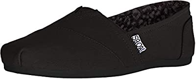 BOBS from Skechers Women's Plush Peace and Love Flat,Black,7.5 M US