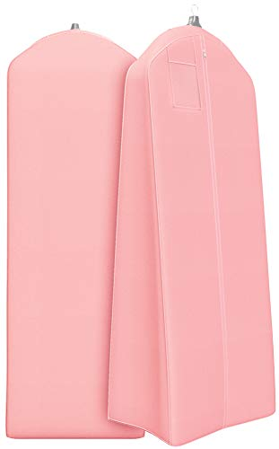 "Gusseted Wedding Dress Garment Bag - For Long Puffy Gowns - 72"" x 24"", 20"" Gusset (Light Pink)"