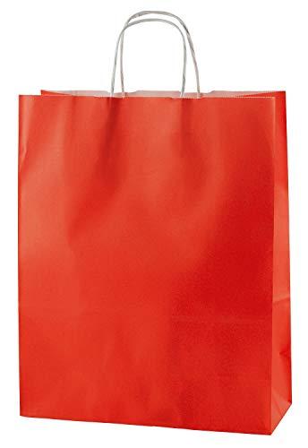 Thepaperbagstore 30 Bolsas De Papel De Colores, Reciclables Y Reutilizables, con Asas Retorcidas, Rojo - Medianas 250x110x310mm