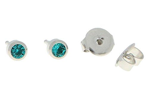 Primeros pendientes de acero quirúrgico con piedra en color turquesa