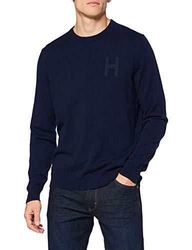 Hackett London Lambswool Hzip Jersey para Hombre, azul marino, S