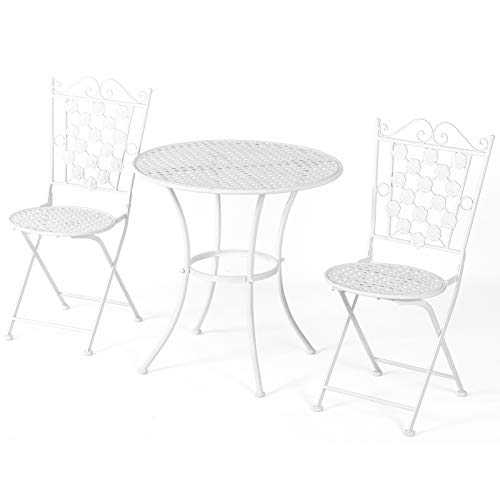 Outsunny Sitzgruppe, 3-teilige Essgruppe, Gartenmöbel-Set, 1 Tisch+2 Stühle, rund Tisch, Terrasse, Metall, Weiß, Ø70,5 x H71,5 cm
