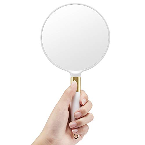 OMIRO Hand Mirror, Round White Handheld Mirror with Handle, 4.7' W x 9.5' L