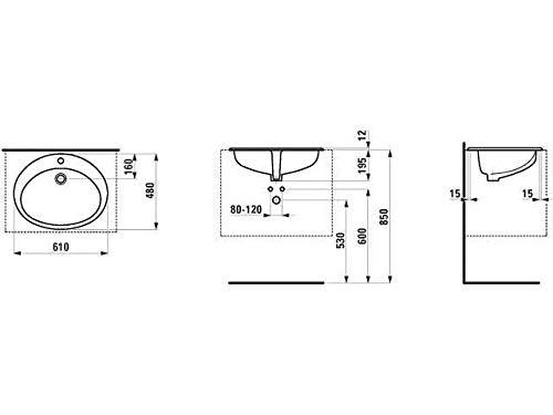 Laufen Einbauwaschtisch von Oben Indova 1 Hahnloch mit Überlauf 610x480 weiß, Farbe: Weiß