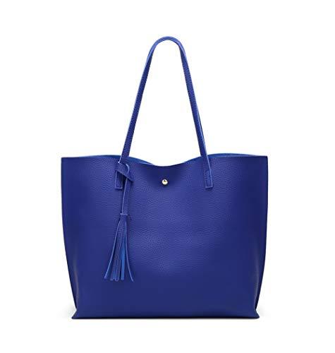 Women's Soft Faux Leather Tote Shoulder Bag from Dreubea, Big Capacity Tassel Handbag Royal Blue