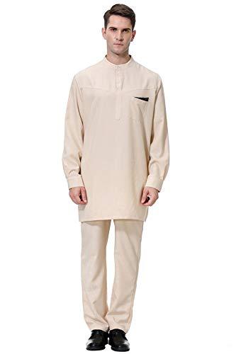GladThink Herren Muslim Arabisch Mittlerer Osten Rundhalsausschnitt mit Langen Ärmeln Islamisch Anzug Khaki XXL