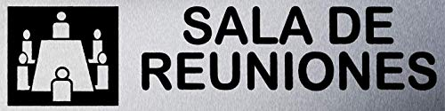 MovilCom® - Señal de acero inoxidable SALA DE REUNION 200X50mm señal informativa (ref.RD707087)