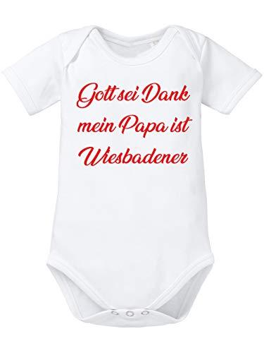 clothinx Gott sei Dank, Mein Papa ist Wiesbadener, Lustiges Fussballmotiv Baby Body Bio Weiß Gr. 62