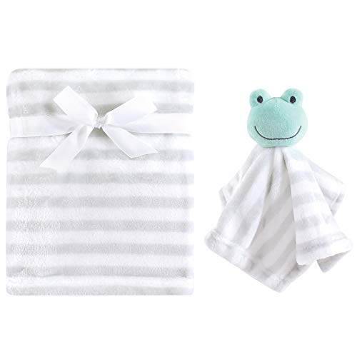 Hudson Baby Unisex Baby Plush Blanket with Security Blanket, Gray, One Size