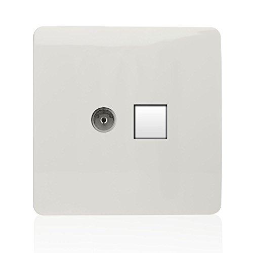 Trendi Modern Glossy Tactile - Toma coaxial para TV (RJ45, Cat. 5e, Gato 6, Enchufe Ethernet), Color Blanco
