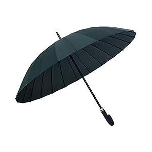 ORIENEX(オリエンネックス) 長傘 レディース傘 高強度24本骨 紳士傘 雨に濡れると花が浮き出る 全14色 (黒緑)