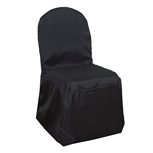 BalsaCircle 100 pcs Black Polyester Banquet Chair Covers Slipcovers for Wedding Party Reception Decorations