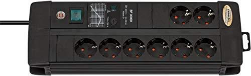 Brennenstuhl Premium-Line Duo regleta de enchufes con 8 tomas de corriente y protección contra sobretensiones hasta 30.000 A (3 m de cable, interruptor, fusible reemplazable, Hecho en Alemania) negro