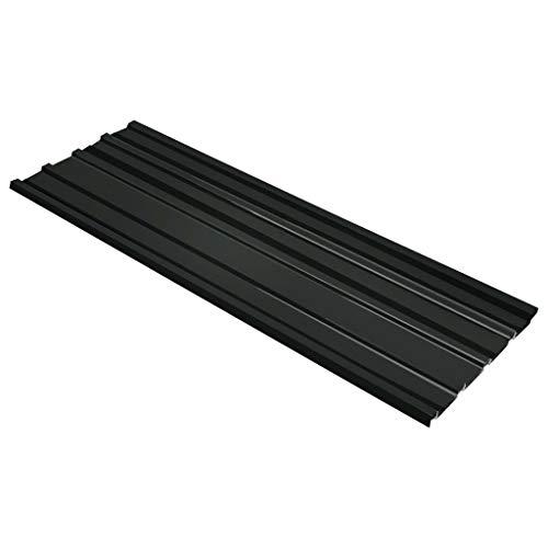 Festnight Panel para Tejado 12 Unidades Acero Galvanizado para Garajes, Cobertizos, Establos, Edificios Comerciales etc. Gris Antracita 129 x 45 cm