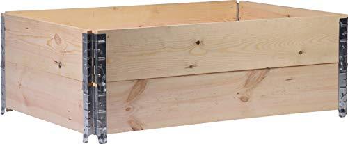 dobar Rechteckige Pflanzbeet-Umrandung aus Holz, Faltbarer Garten, 120 x 80 x 20 cm, Natur, Kiefer Pflanzkasten, Beige