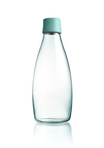 Retap Borosilikatglas Wasser Flasche, Mint blau, 0,8Liter/groß