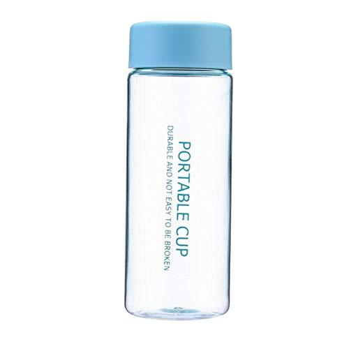 LJJJZS Niedliche Wasserflasche Klare BPA-freie Plastik-Trinkflaschen Tragbare Reise-Trinkgeschirrbecher im Freien Auslaufsichere Wasserkocher 400 ml