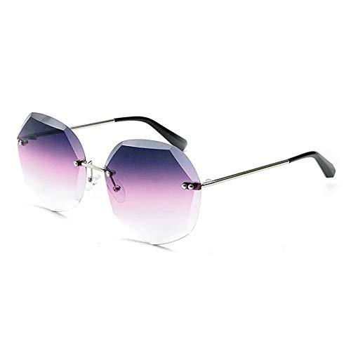 Sunglass Fashion Nueva Europa y América Gafas de Sol con Corte de Cristal Moda for Mujer Gafas de polígono Protección UV400 Marco de Plata Lente Rosa Degradado Rosa
