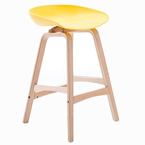JIEER-C leerstoel barkruk eenvoud bar keuken massief houten kruk PP zitting ontbijtstoel ergonomisch design zithoogte 65cm 3 kleuren optioneel (kleur: grijs) geel