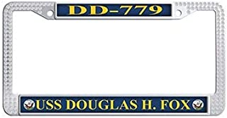 Dongsmer USS Douglas H.Fox DD-779 Car License Plate Holder White Rhinestones Car License Plate Covers