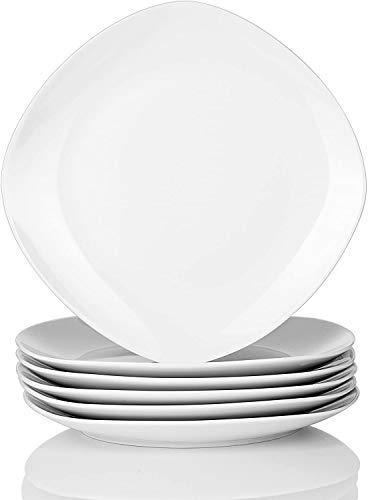 MALACASA, Serie Elisa, 6 TLG. Porzellan Tellerset Speiseteller Set Flachteller 24,6cm für 6 Personen