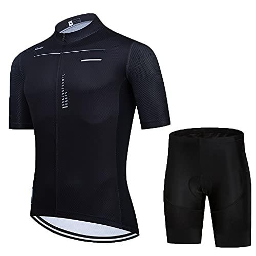 Traje Ciclismo Hombre para Verano,Ciclismo Maillot y Culotte Ciclismo Culote Bicicleta con 5D Gel Pad para MTB, Spinning, Bicicleta (Black A,M)