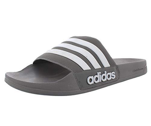 adidas Men's Adilette Shower Slide Sandal, grey/white/grey, 11 M US