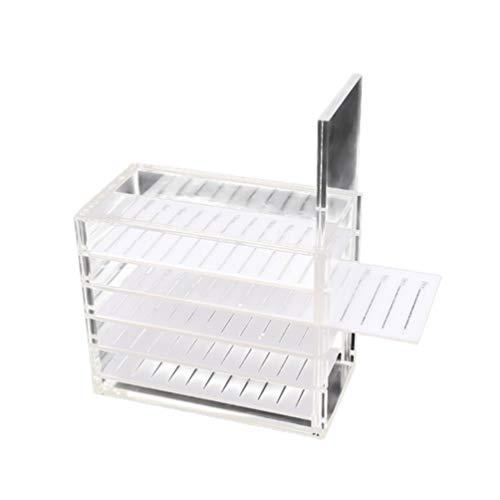 Lurrose Boîte de Rangement pour Cils Acrylique Faux Cils Extension Organisateur Cas Cosmétique Maquillage Boîte de Rangement avec Échelle pour Greffe Extension de Cils