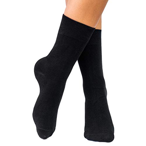 lampox Bambussocken (6 Paar) Atmungsaktiv Socken Business Sport Laufen Reduziert Schweiß (39-42, Schwarz)