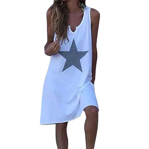 LOPILY Tunika Damen Große Größen Stern Muster Ärmellos Kleid Lose Atmungsaktives Umstandkleid Knielang Sommerkleid für Mollige Einfarbiges Strandkleid (Weiß, DE-38/CN-L)