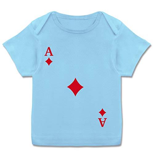 Karneval und Fasching Baby - Spielkarte Karo - 80-86 - Babyblau - Fun - E110B - Kurzarm Baby-Shirt für Jungen und Mädchen